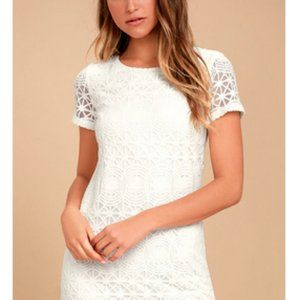 NWT Lulu's Love for You Off White Lace Shift Dress